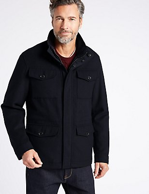 Wool Blend 4 Pocket Jacket , NAVY, catlanding
