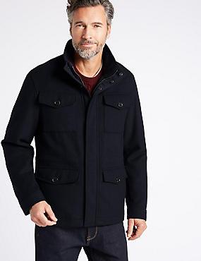 Wool Blend 4 Pocket Jacket , NAVY, catlanding