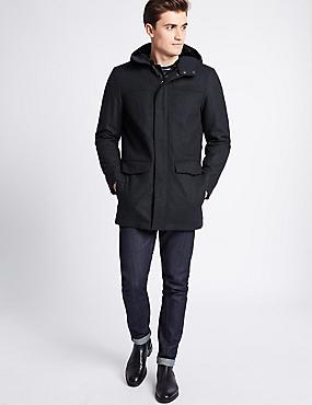 Wool Rich Duffle Coat, GREY, catlanding