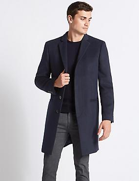 Wool Blend Revere Overcoat, NAVY, catlanding