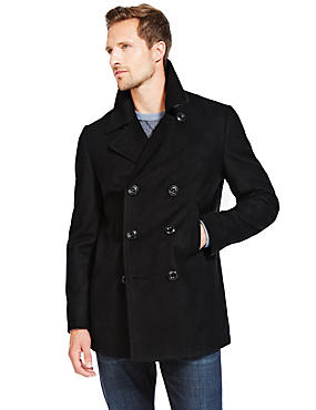 Lightly Padded Peacoat with Wool