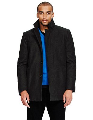 Funnel Neck Single Breasted Coat with Wool, BLACK, catlanding