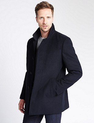 Buttonsafe™ Funnel Neck Coat with Wool, NAVY, catlanding