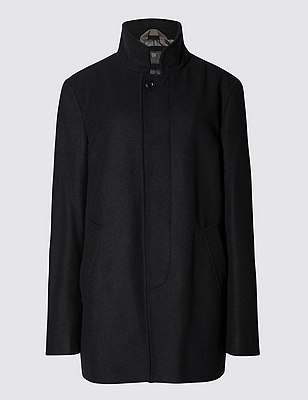 Buttonsafe™ Funnel Neck Coat with Wool, BLACK, catlanding