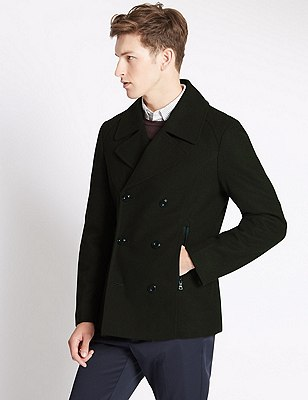 Buttonsafe™ Tailored Fit Peacoat with Wool, KHAKI, catlanding