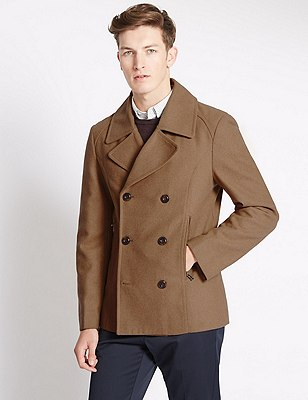 Buttonsafe™ Tailored Fit Peacoat with Wool, CAMEL, catlanding
