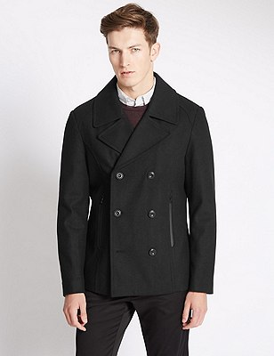 Buttonsafe™ Tailored Fit Peacoat with Wool, BLACK, catlanding