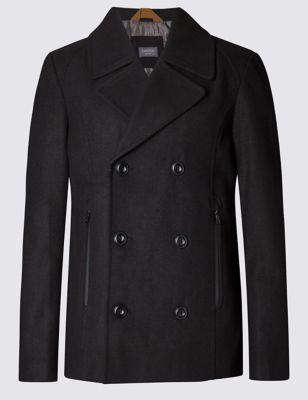 Приталенное пальто пикот с добавлением шерсти и технологией Buttonsafe™
