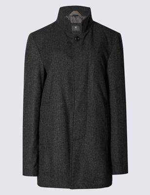 Текстурное пальто Buttonsafe™ с добавлением шерсти M&S Collection T163344M