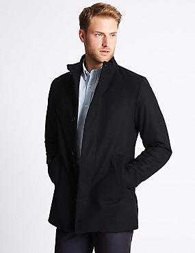 Funnel Neck Coat with Wool, NAVY, catlanding
