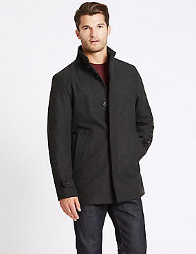 Funnel Neck Coat with Wool, CHARCOAL, catlanding