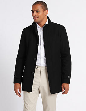 Funnel Neck Coat with Wool, BLACK, catlanding