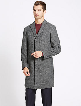 Wool Blend Revere Overcoat , BLACK/WHITE, catlanding