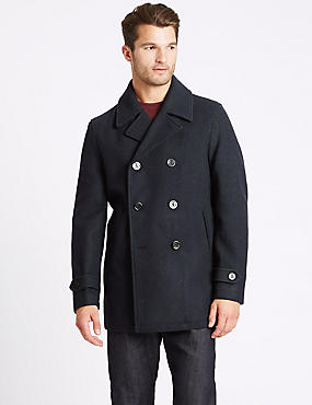Wool Blend Double Breasted Peacoat, NAVY, catlanding
