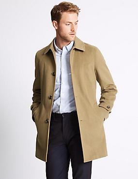 Wool Blend Coat with Buttonsafe™, CAMEL, catlanding