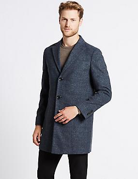 Wool Blend Revere Collor Coat, BLUE MIX, catlanding