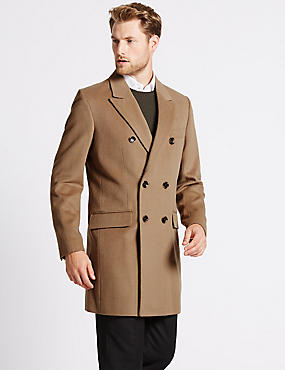 Wool Blend Double Breasted Coat, CAMEL, catlanding
