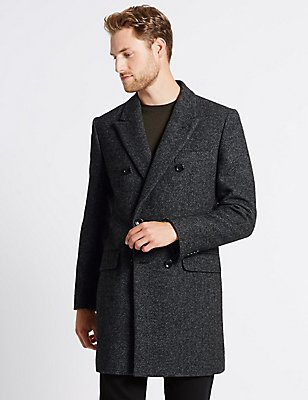 Double Breasted Coat, BLACK/GREY, catlanding