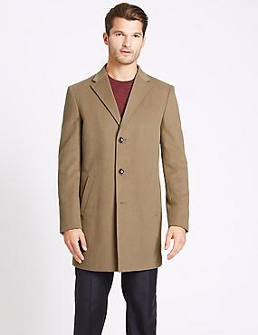 Wool Blend Revere Coat, CAMEL, catlanding