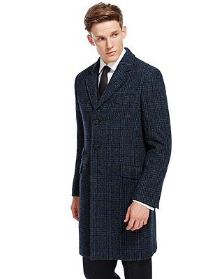Harris Tweed British Fabric Pure Wool Coat, NAVY MIX, catlanding