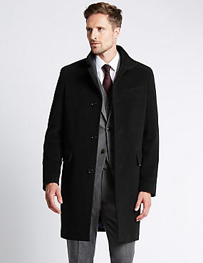 Funnel Neck Coat, BLACK, catlanding