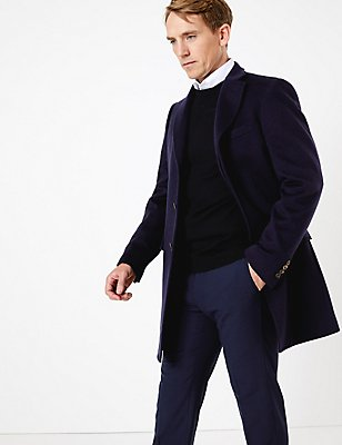 Pure Cashmere Ripple Coat, NAVY, catlanding