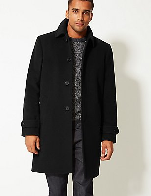 Collared Neck Coat, BLACK, catlanding