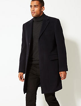 Wool Rich Overcoat with Thinsulate™, NAVY, catlanding