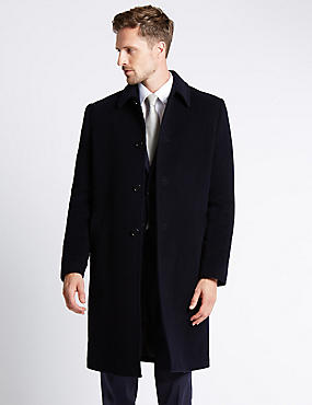 Wool Rich Thermal Overcoat, NAVY, catlanding