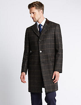 Luxury Single Breasted Wool Coat with Buttonsafe™, BROWN, catlanding