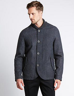 Pure Wool Shawl Collar Jackets, BLUE, catlanding