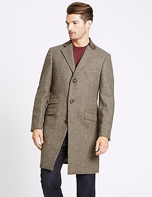 Pure Wool Single Breasted Overcoat, NATURAL MIX, catlanding