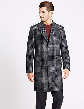 Pure Wool Peak Collar Overcoat, NAVY MIX, catlanding