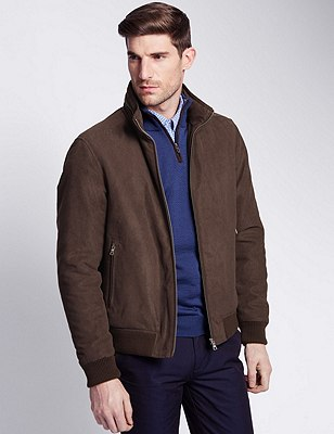 Faux Suede Bomber Jacket with Concealed Hood, CHOCOLATE, catlanding