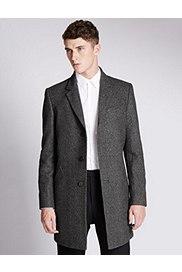 Italian Fabric Wool Rich Coat, GREY, catlanding