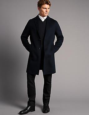 Manteau en laine mélangée, BLEU MARINE, catlanding