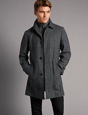 Wool Blend Checked Coat , BLACK/WHITE, catlanding