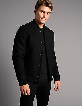 Wool Rich Bomber Jacket with Stormwear™, BLACK, catlanding