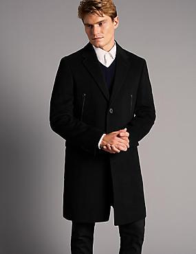 Wool Rich Single Breasted Coat, BLACK, catlanding