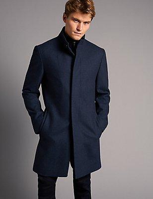 Mantel aus Wollmischgewebe , BLAU MELANGE, catlanding