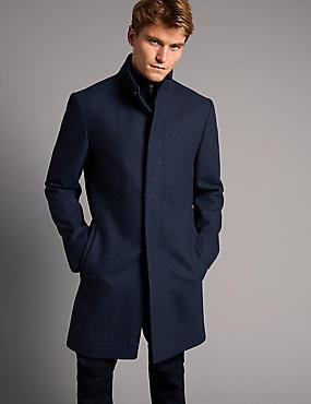 Manteau en laine mélangée , BLEU ASSORTI, catlanding