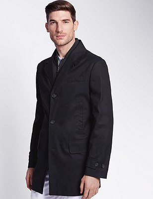 Pure Cotton Mac with a Removable Double Collar , NAVY, catlanding