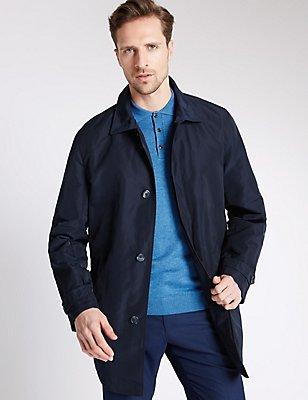 Collared Neck Mac with Stormwear™, NAVY, catlanding