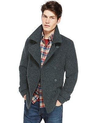Wool Blend Slim Fit Peacoat, GREY, catlanding