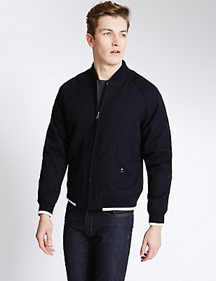 Pure Cotton Textured Bomber Jacket, NAVY, catlanding