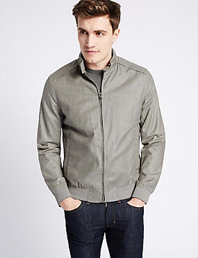Linen Blend Bomber Jacket with Stormwear™, NATURAL, catlanding