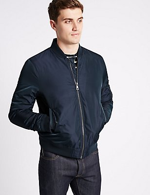 Bomber Jacket with Stormwear™, NAVY, catlanding