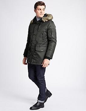 Faux Fur Parka Coat, DARK OLIVE, catlanding