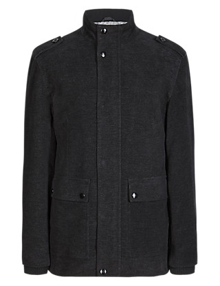Cotton Rich Tailored Fit Moleskin Jacket Clothing