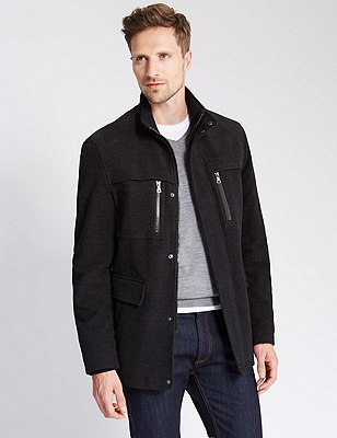 Italian Fabric Cotton Rich Moleskin Jacket, BLACK, catlanding